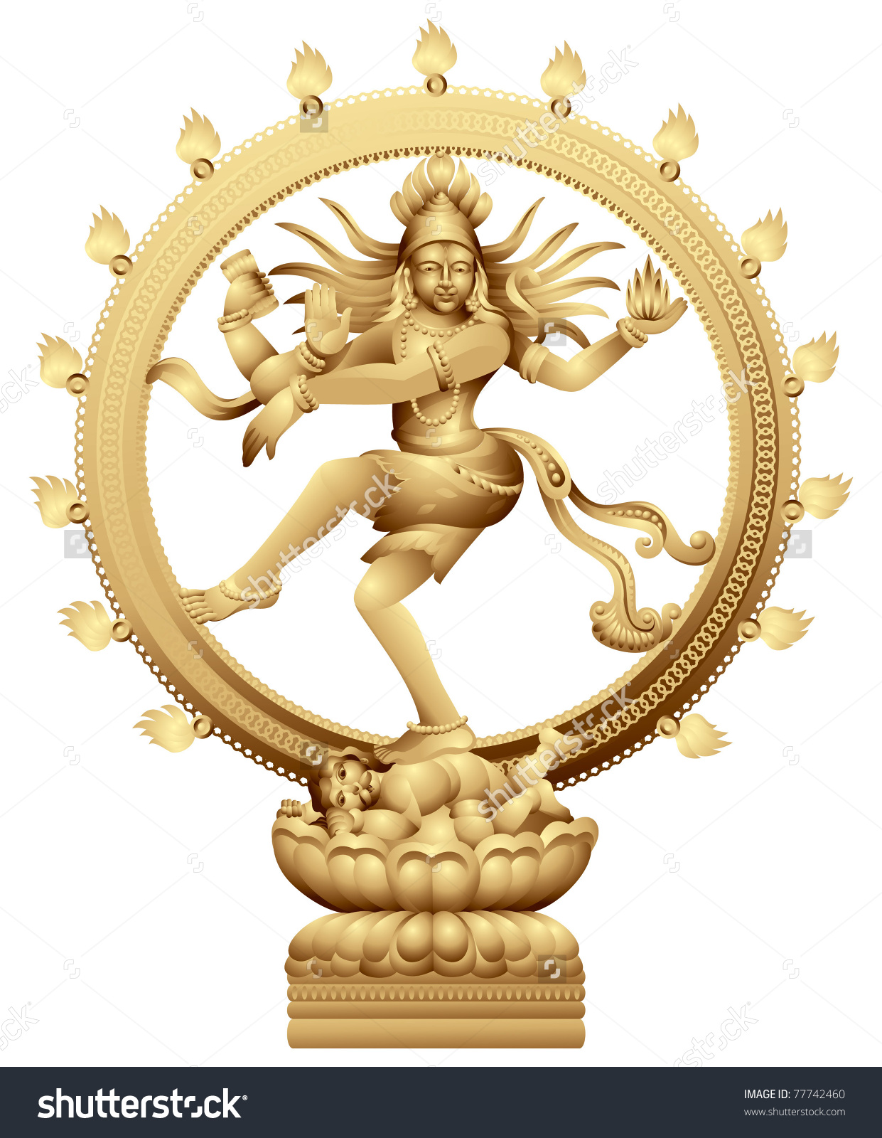 Dancing Shiva Statue Indian Hindu God Stock Vector 77742460.