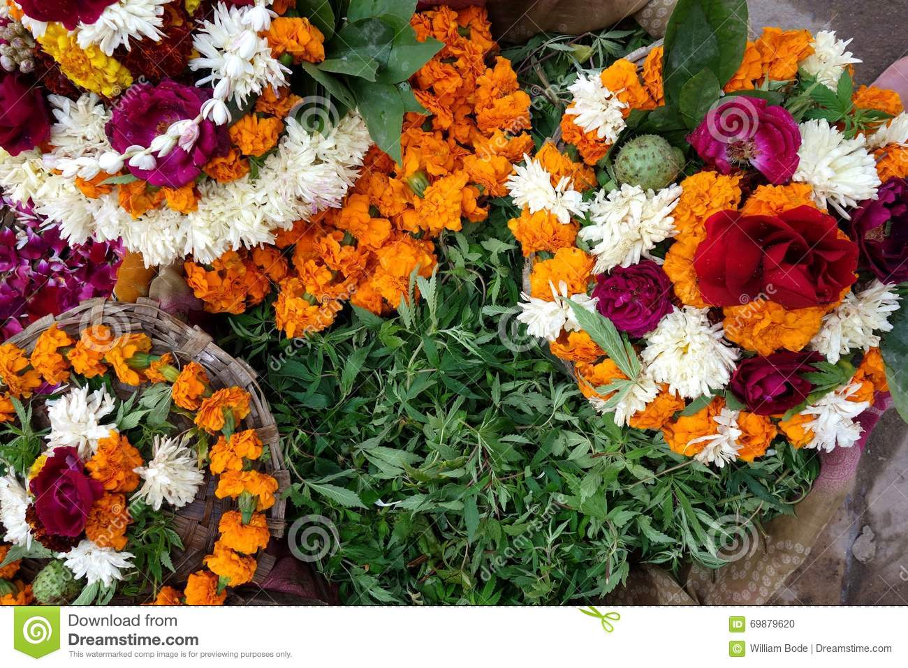 Flower Offerings To Shiva Stock Photo.