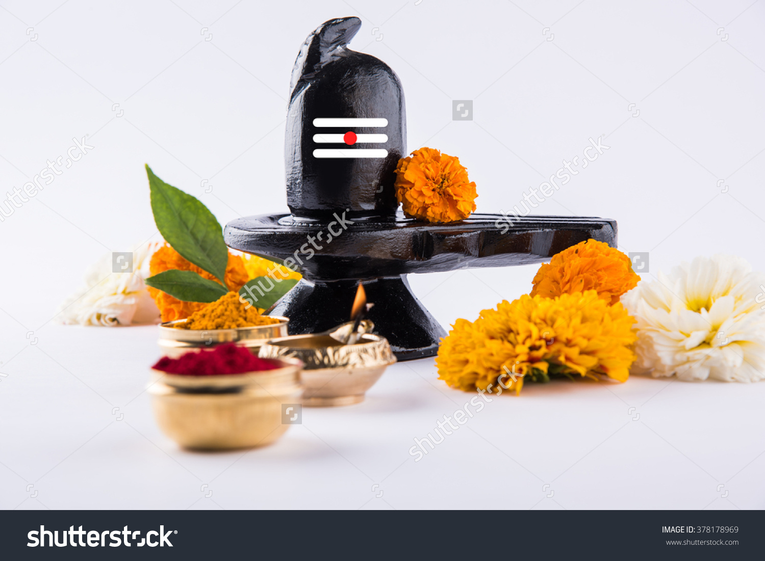 Shiva Linga Made Black Stone Decorated Stock Photo 378178969.