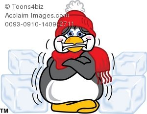 Clipart Cartoon of a Freezing, Cold Penguin Shivering.