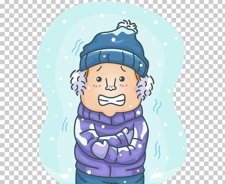 Shivering Common Cold Chills PNG, Clipart, Blue, Cartoon.