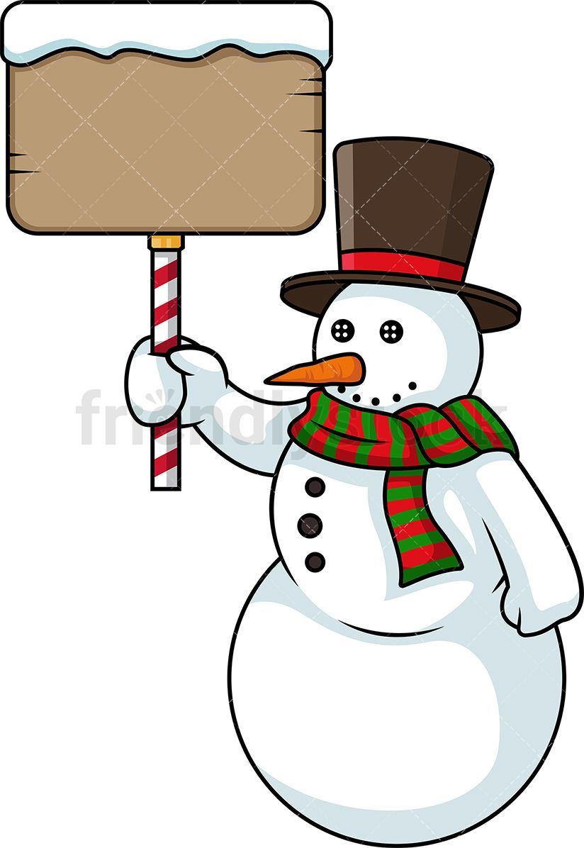 Snowman Holding Sign.