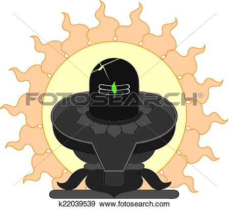 Clip Art of Shivling With Sun k22039539.
