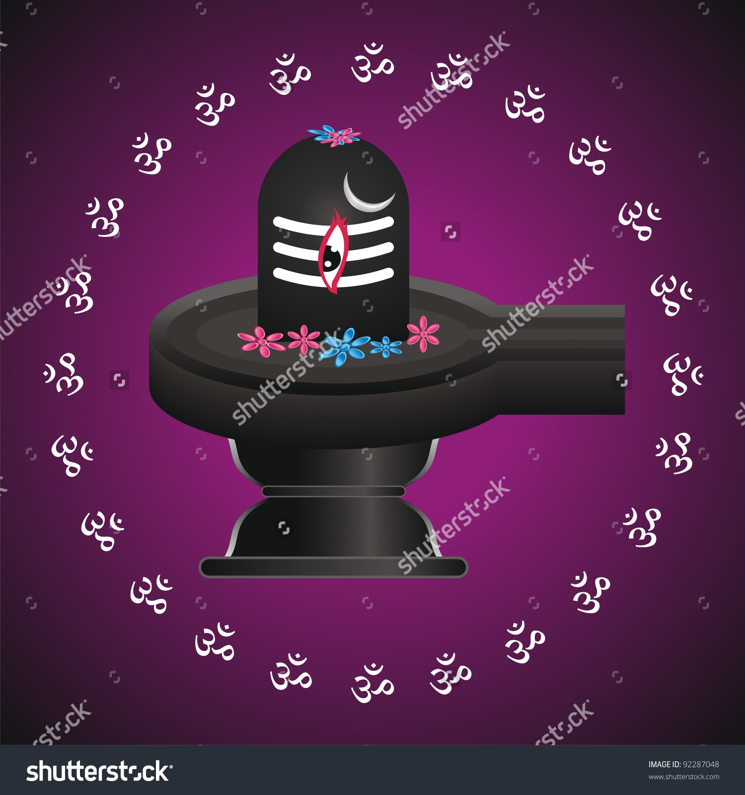 Illustration Of Divine Shivling With Aum.