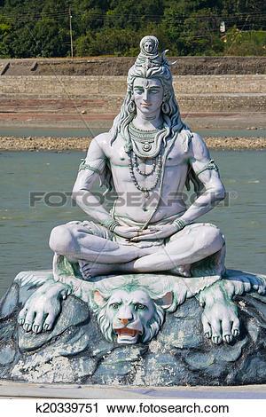 Stock Photography of Shiva statue in Rishikesh, India k20339751.