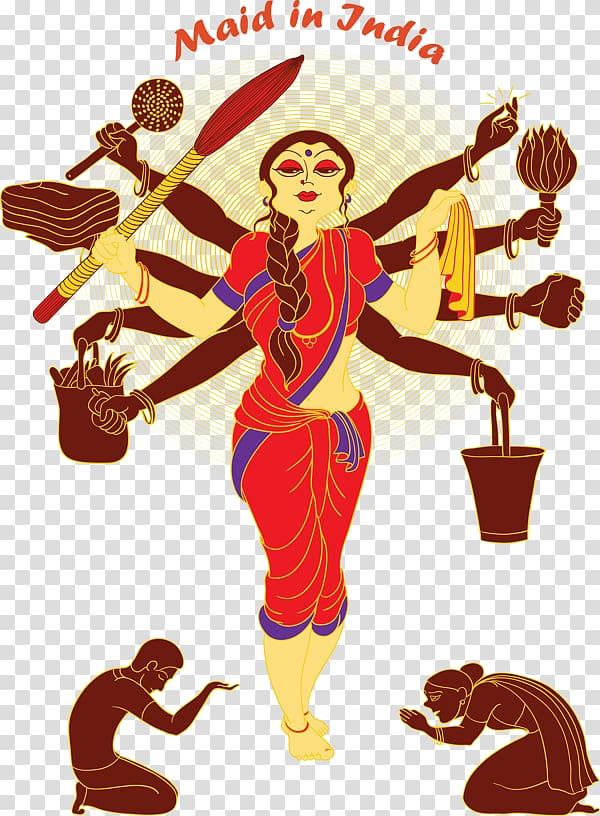 India Maid service Cartoon Domestic worker, happy maha.