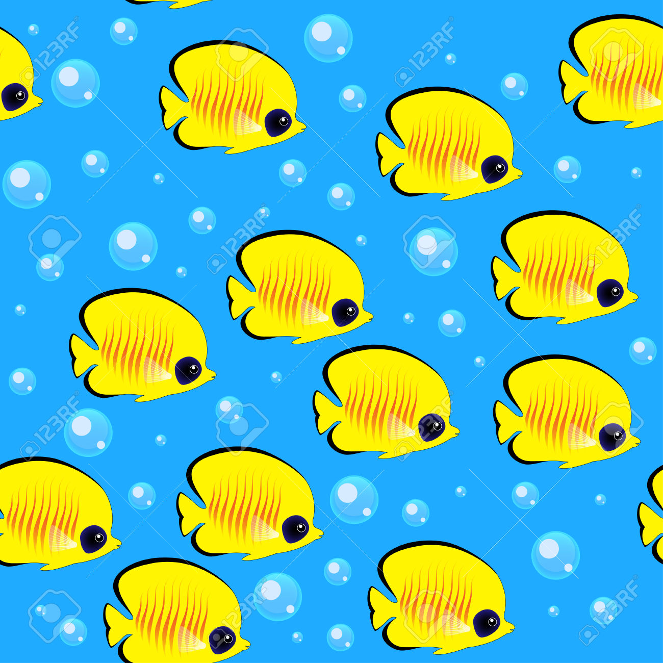 A Shoal Of Fish. Colorful Seamless Pattern Royalty Free Cliparts.