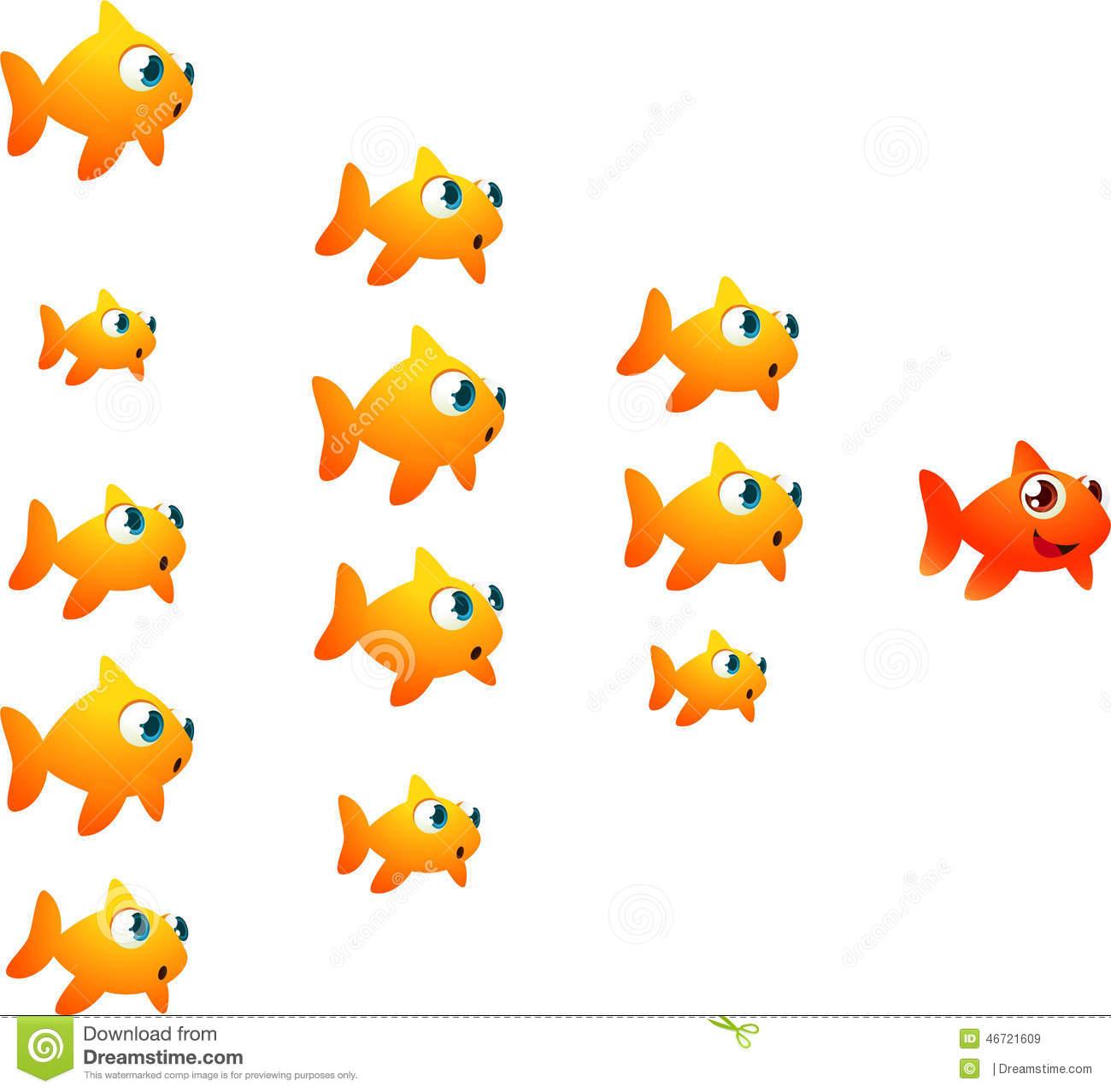 Goldfish Shoal Orange Leader Stock Illustration.