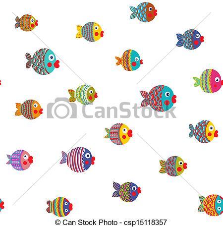 Clipart Vector of Fish Shoal Bright Cartoon Seamless Pattern.