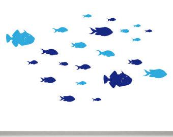 Bird school of fish clipart.