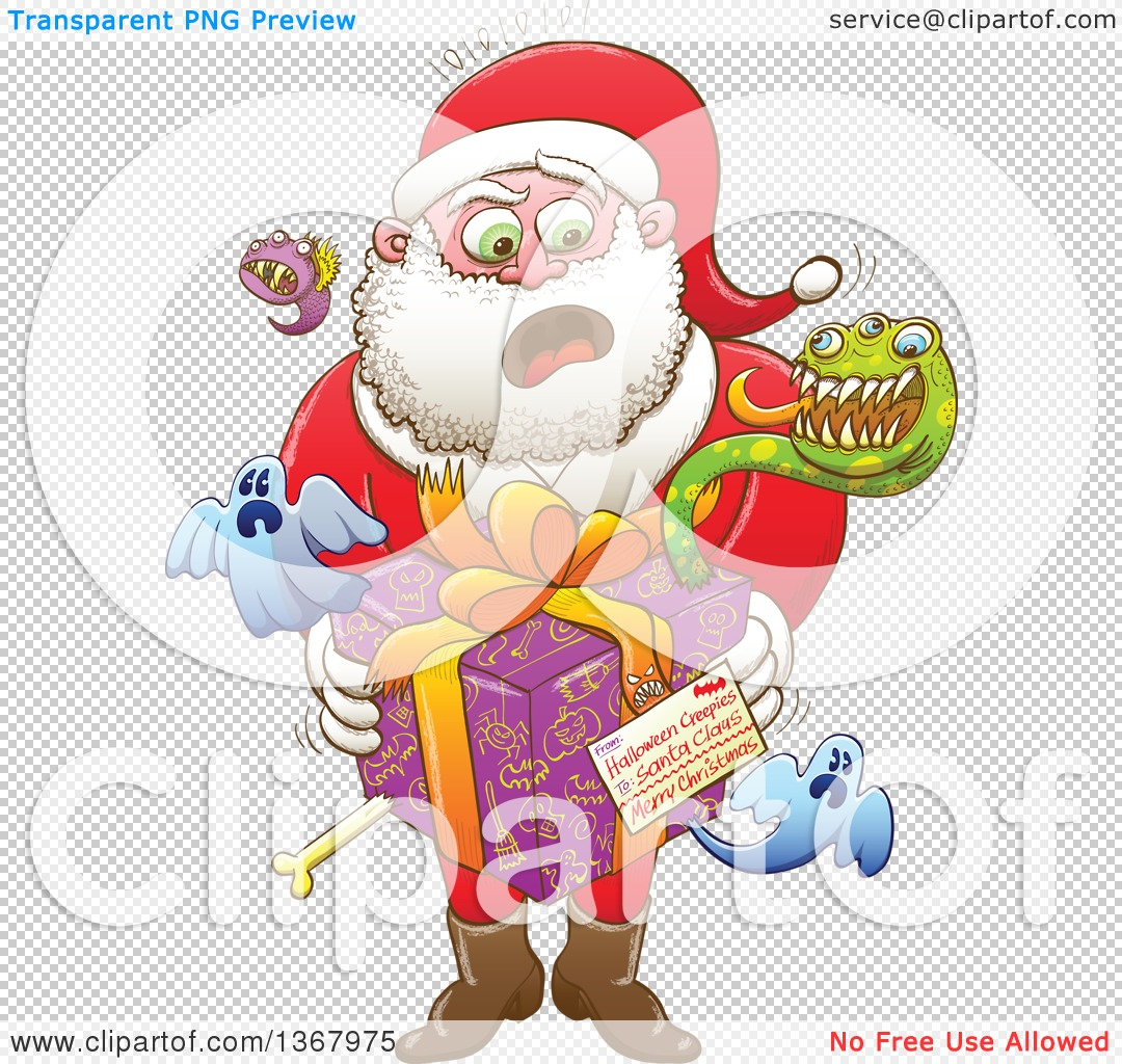 Clipart of a Cartoon Shocked Santa Holding a Gift from Halloween.