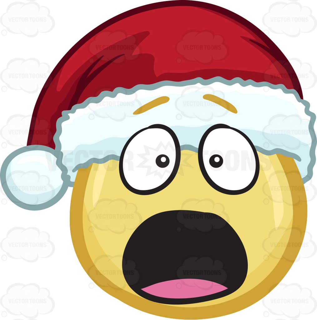 A Shocked And Aghast Emoji Wearing A Santa Hat Cartoon Clipart.