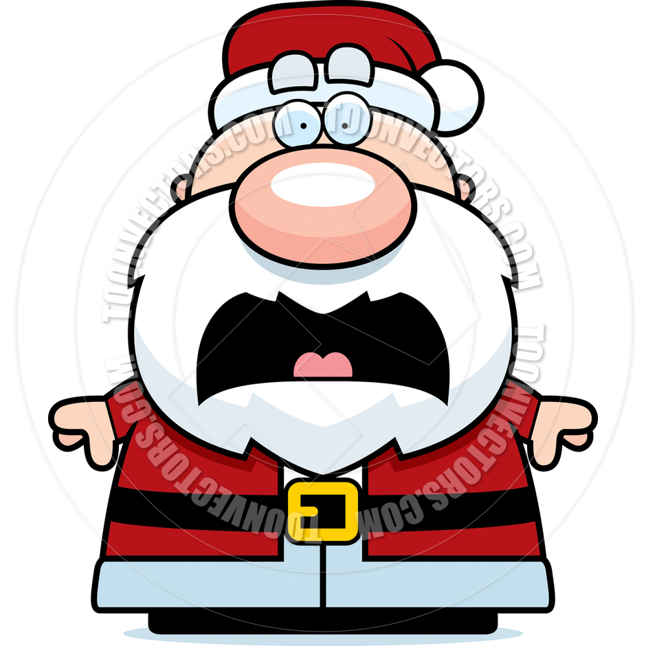 Cartoon Santa Claus Scared by Cory Thoman.