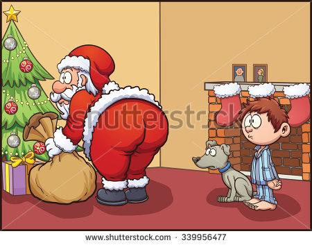 Shocked Kid Dog Looking Santa Claus Stock Vector 339956477.