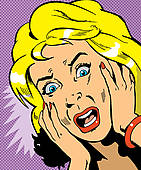 Stock Illustration of A woman looking shocked rca0026.