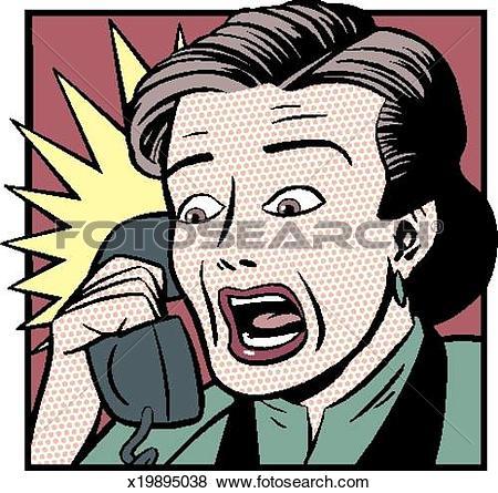 Stock Illustration of Shocked Woman on Telephone x19895038.