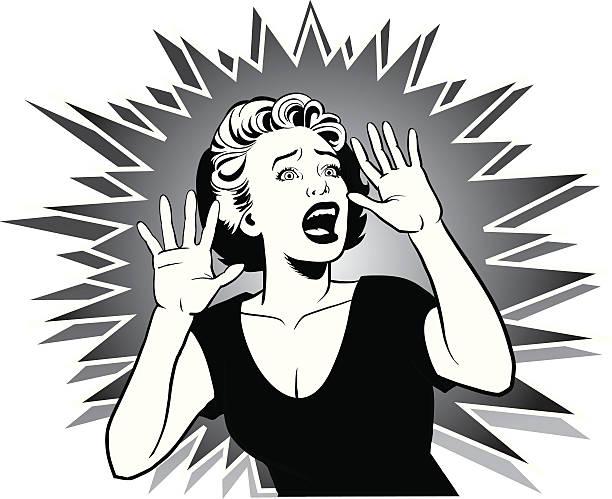 Comic Cartoon Shocked Woman Clip Art, Vector Images.
