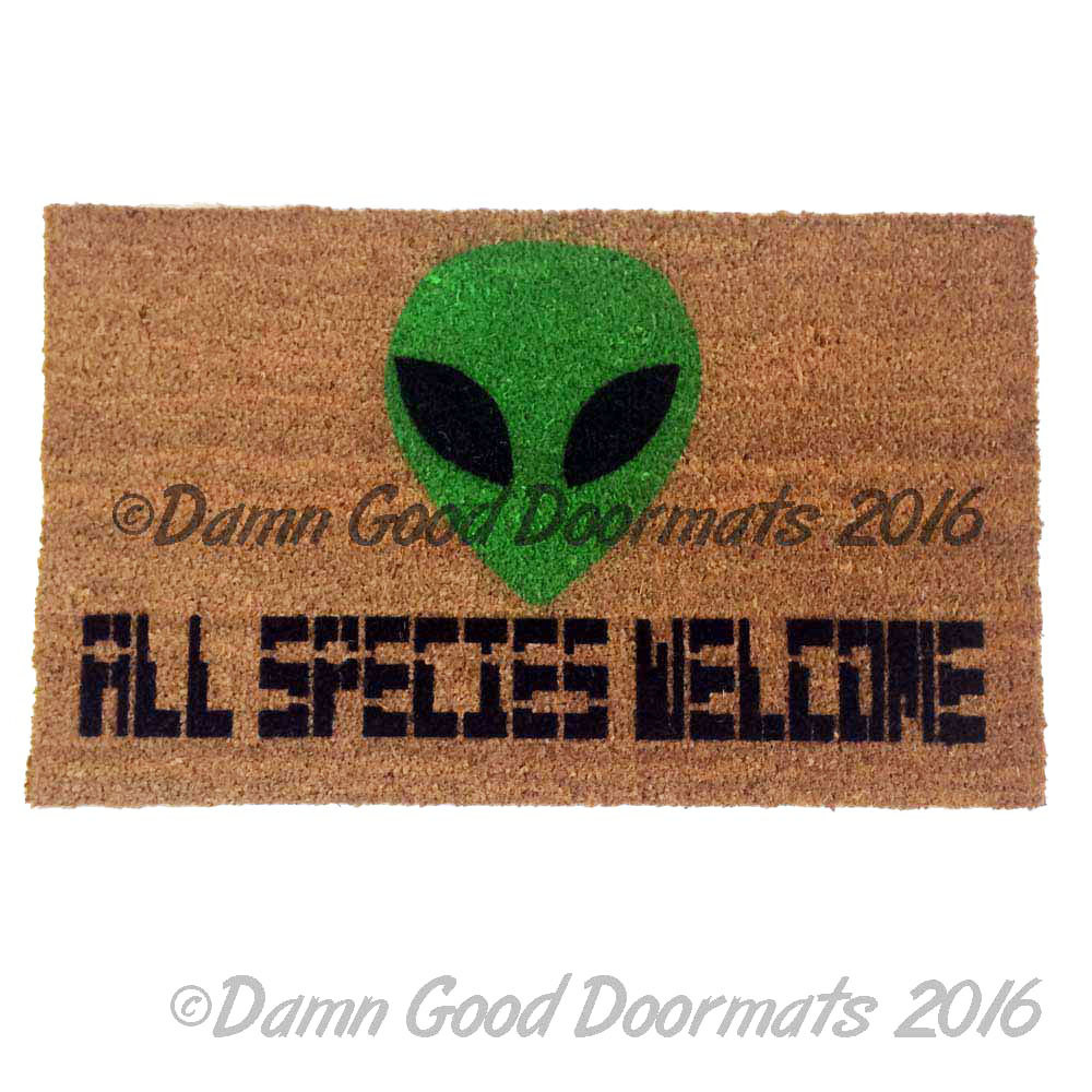 Aliens All species Welcome™ doormat by DamnGoodDoormats.