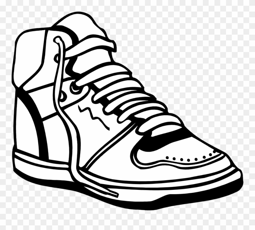 Black And White High Sneakers Clipart.