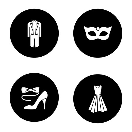 Party clothes glyph icons set. Tailcoat, evening gown, bow.