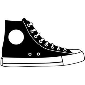 Black Hightop Shoe clip art.