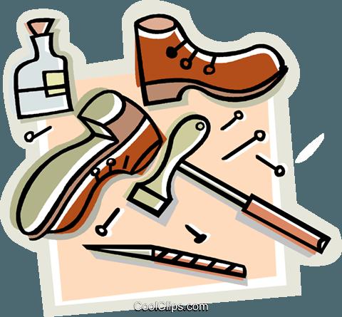 shoe repair, shoes, hammer, nails Royalty Free Vector Clip Art.