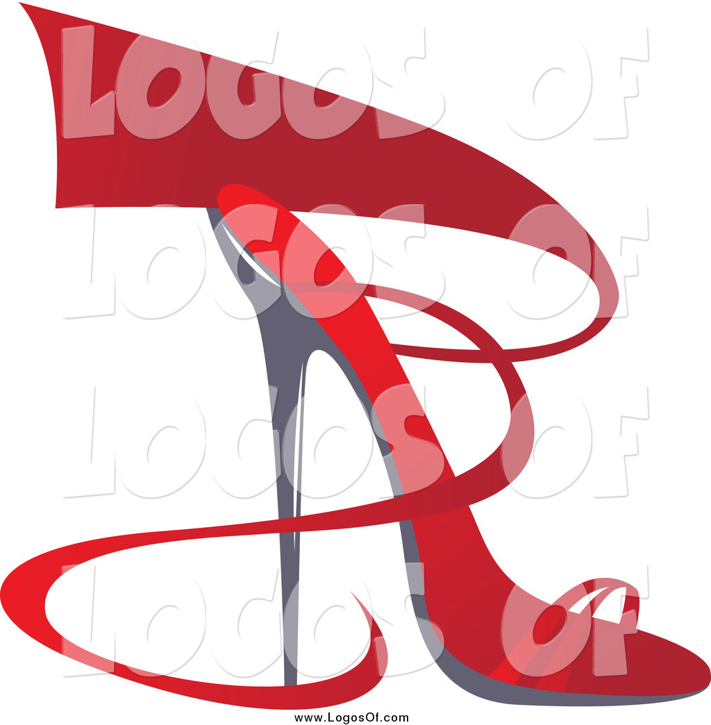 Vector Clipart of a Red Ribbon and High Heel Shoe Logo by Eugene.