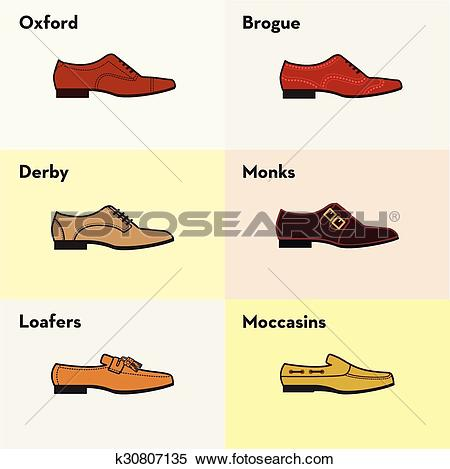 Clipart of Vector graphic set icons of flat classical men's shoes.