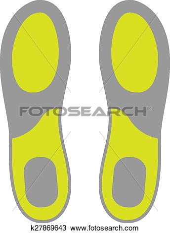 Clipart of Flat Icon of Shoe Insoles Isolated on White Background.