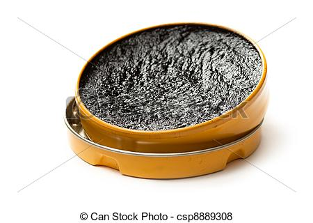 Pictures of Black shoe polish on white csp8889308.