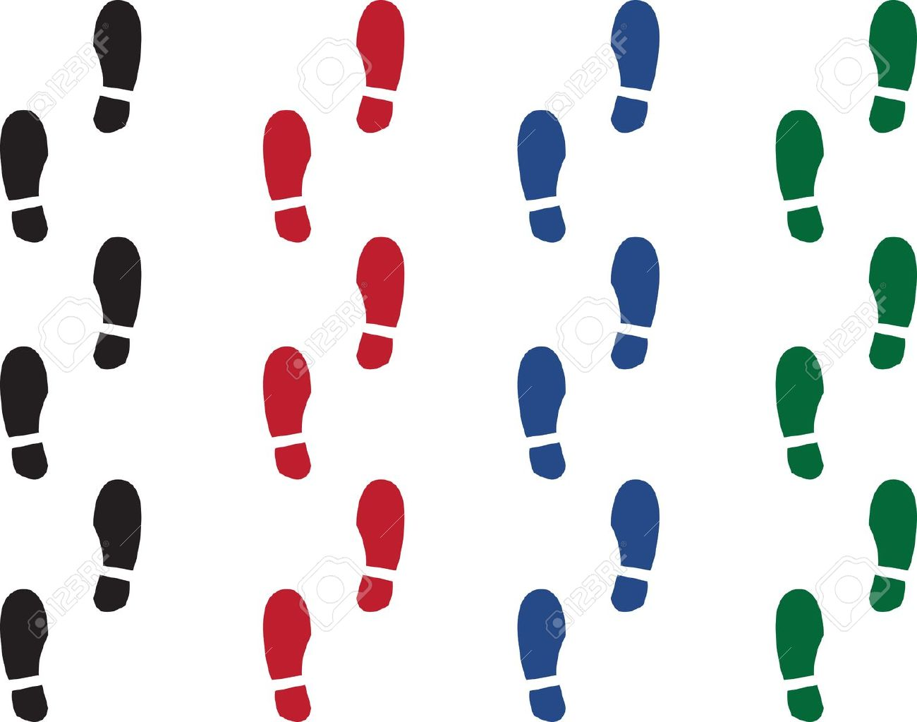 Various Colored Shoe Prints. Black, Red, Green And Blue Royalty.