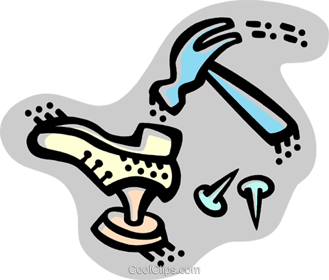 Cobbler and Shoe Repair Royalty Free Vector Clip Art.