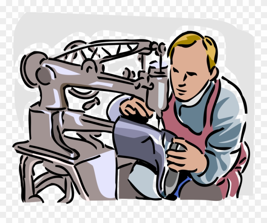 Vector Illustration Of Shoe Repair Cobbler Shoemaker.