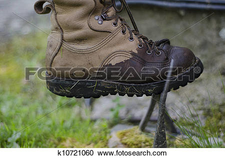 Stock Photography of A wet and muddy leather walking boot, being.