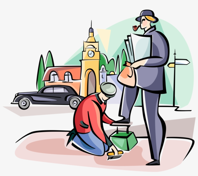 Vector Illustration Of Englishmen Getting Shoe Shine.