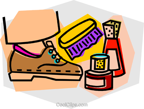 shoe shine Royalty Free Vector Clip Art illustration.