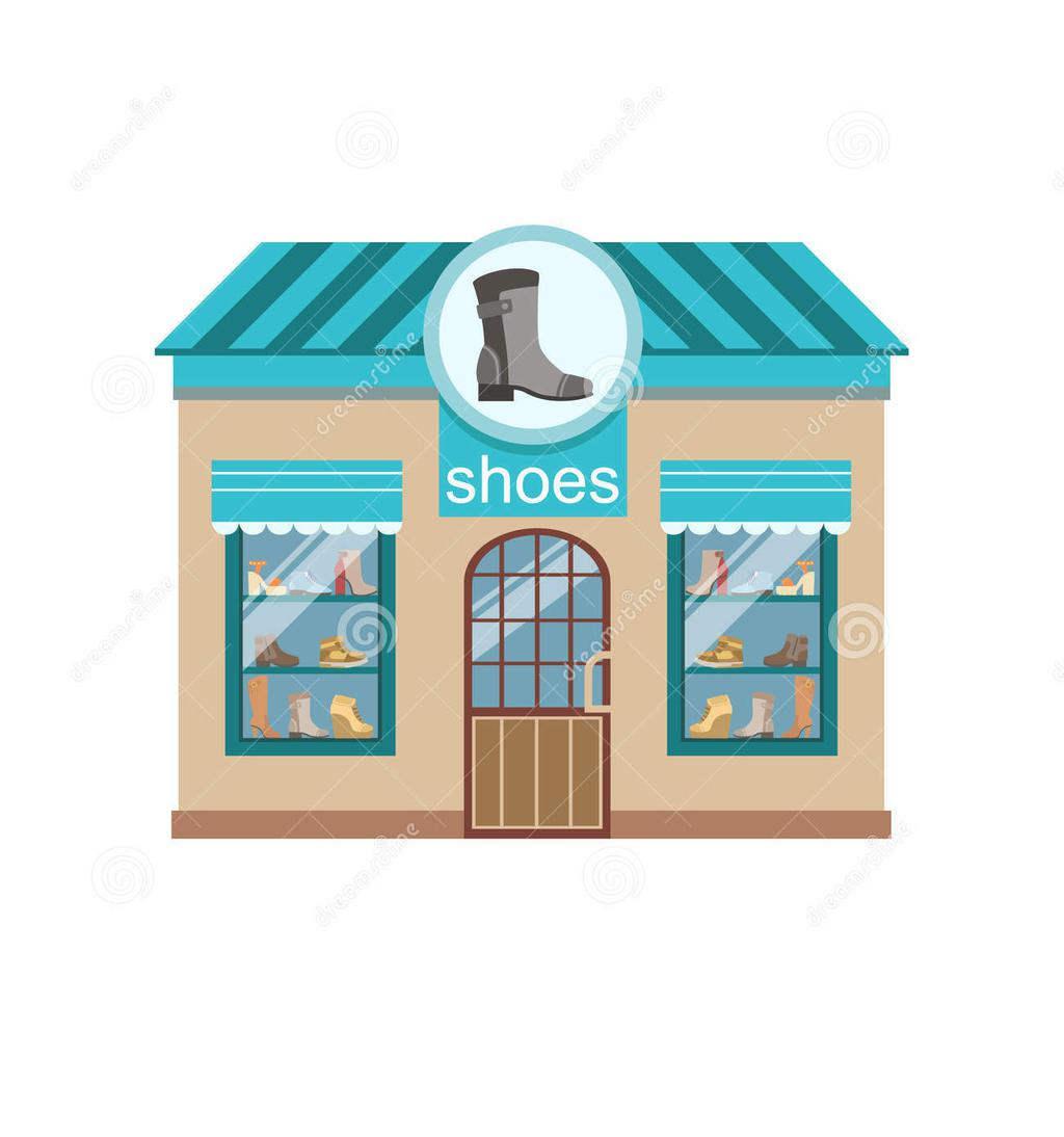 Shoe Shop Clipart Building Detailed Style.