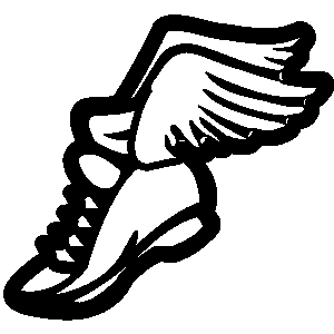Track shoe with wings clip art.