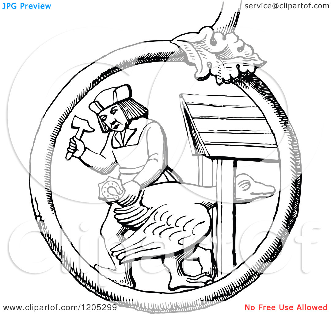 Clipart of a Vintage Black and White Man Shoeing the Goose.