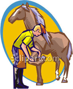 Shoeing a Horse.