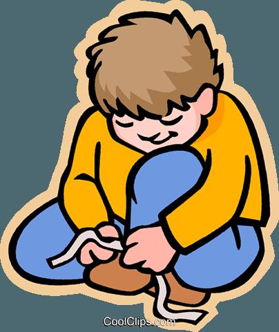 Free clipart boy shoe laces.