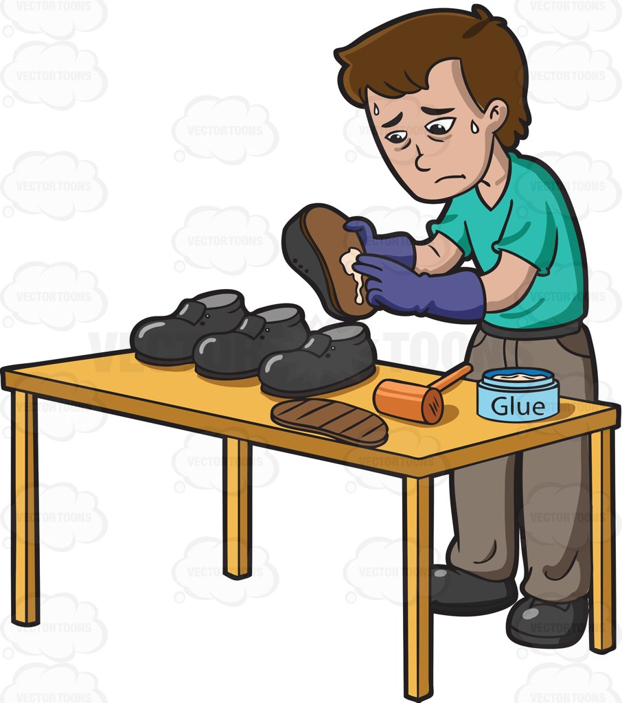 A Sad Looking Shoemaker Cartoon Clipart.