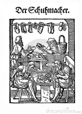 The Shoemaker Workshop, Engraving XVI Century Stock Illustration.