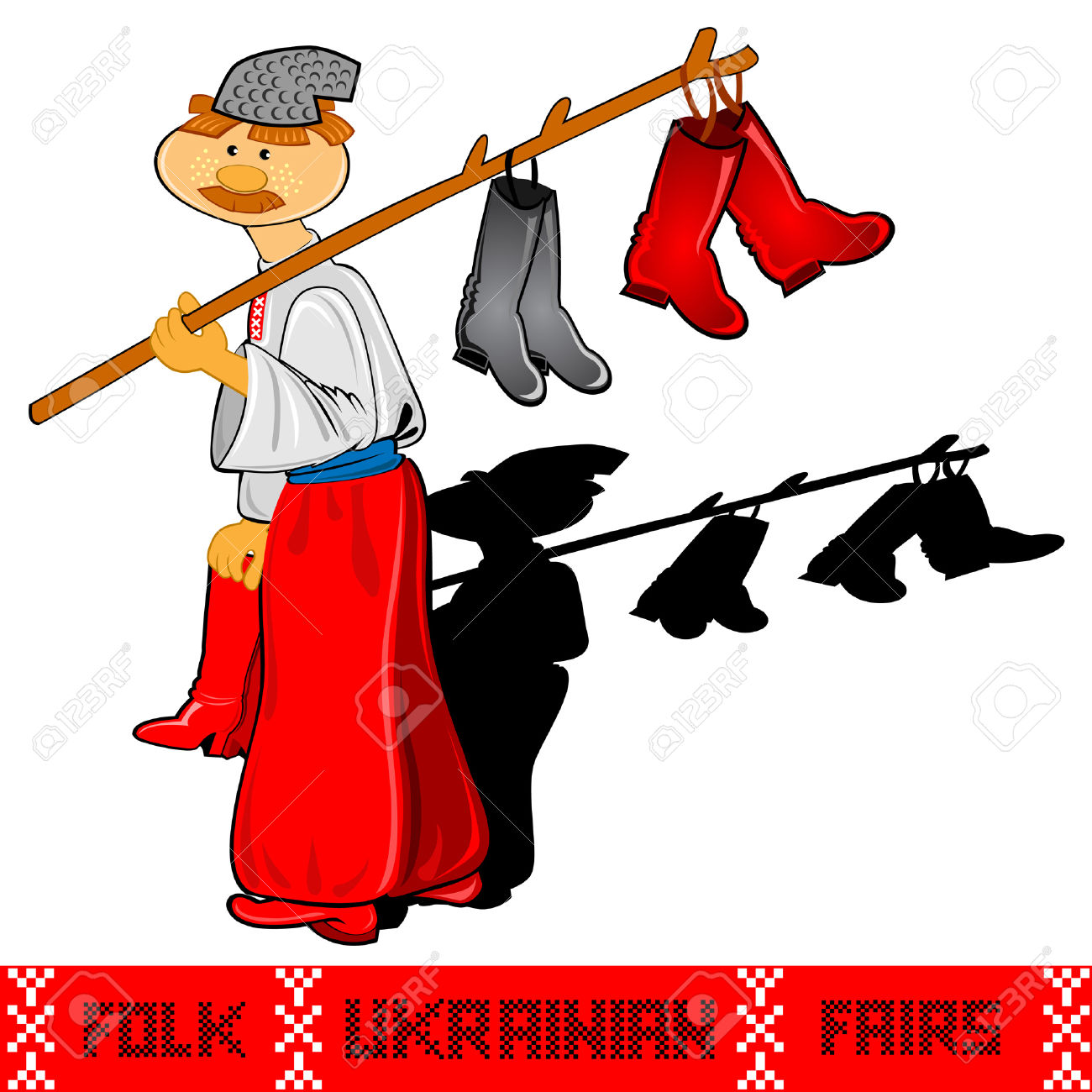Shoemaker Ukrainian Folk Rairs Man With Shoes Craft Royalty Free.