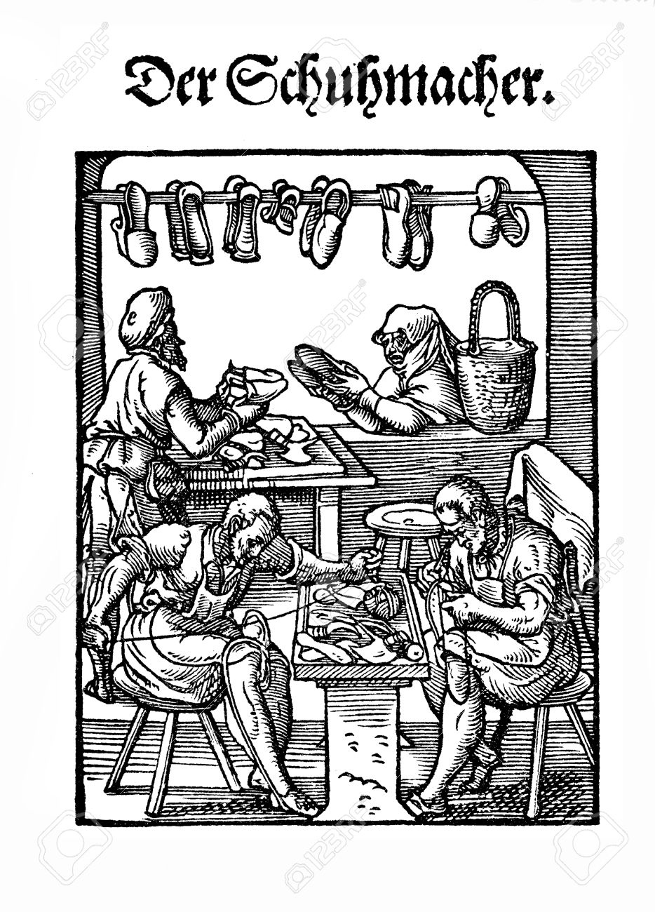Art And Craft, Renaissance Workshop: The Shoemaker Stock Photo.