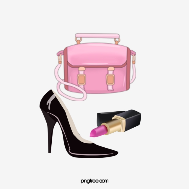Hand Painted Watercolor Bags Shoes Lipstick, Watercolor.