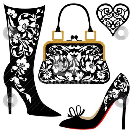 Fashion illustration stock vector clipart, Silhouettes of.