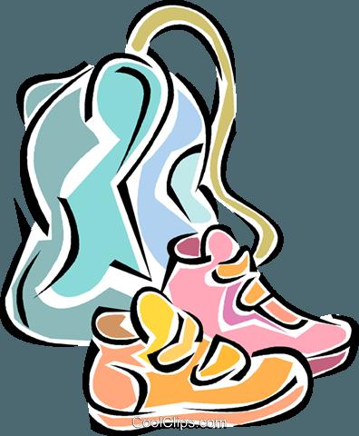 running shoes, school bag Royalty Free Vector Clip Art.