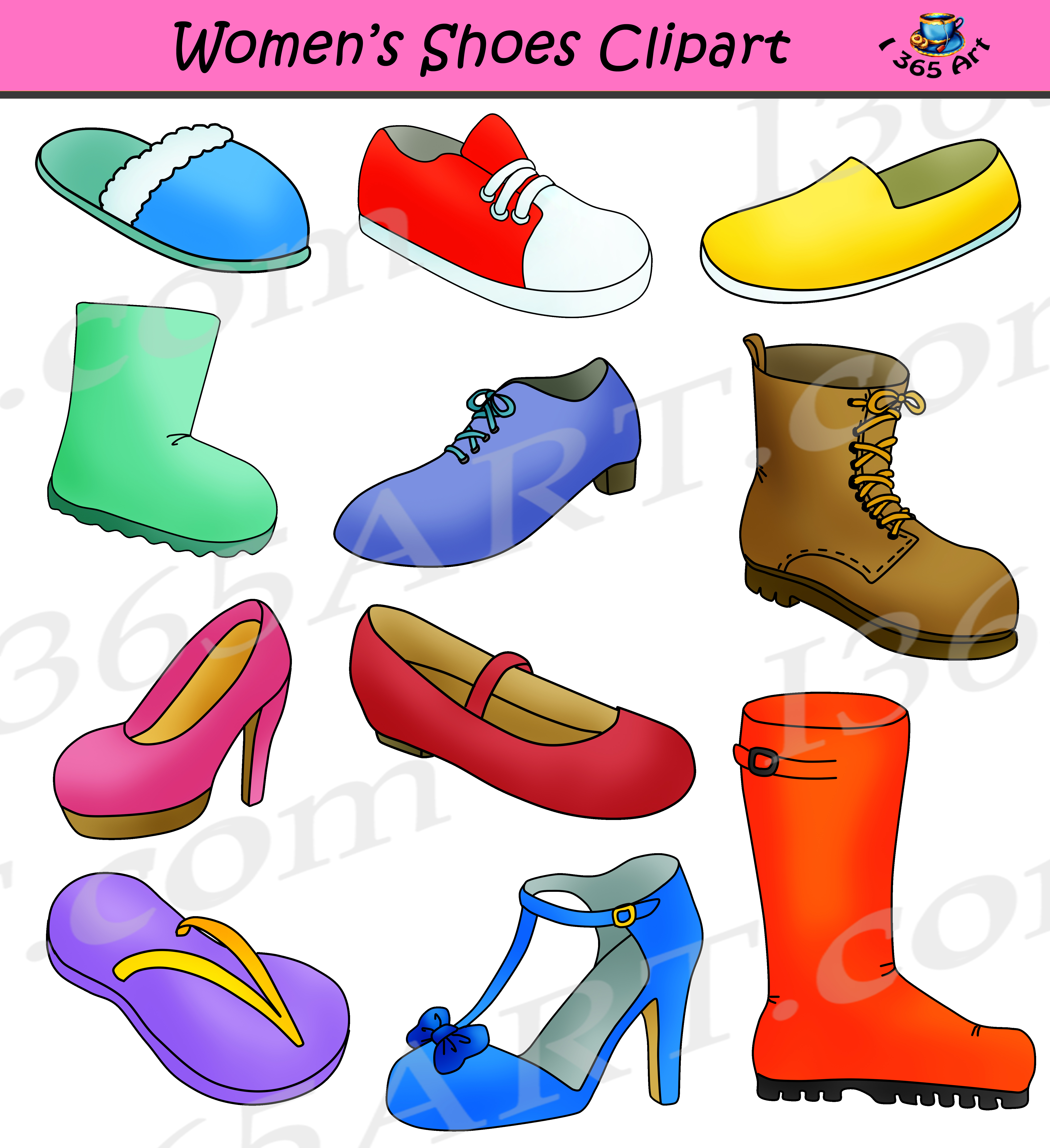 Womens Shoes Clipart.