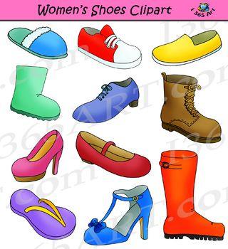 Womens Shoes Clipart Footwear Set.